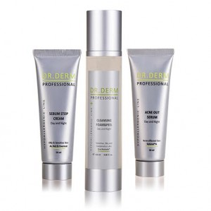 Anti-acne bundle Sebum Stop Cream, Anti Acne Serum and Cleansing Foam Dr. Derm