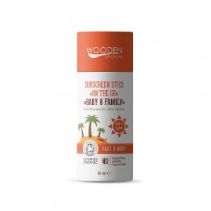 Слънцезащитен стик за лице и тяло с SPF45+ Baby & Family Wooden Spoon